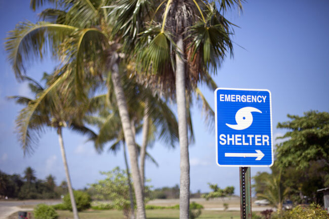 emergency shelter sign on Little Cayman Island