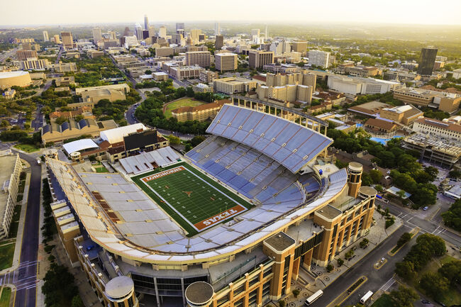 University of Texas Austin (UT) Longhorns Football Stadium aerial view
