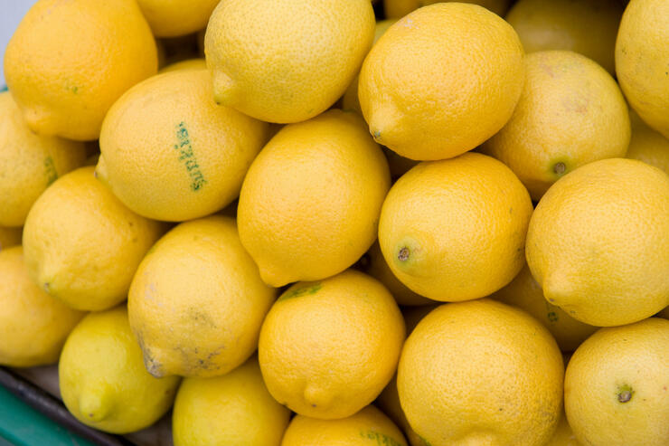 Lemons are offered for sale at Eastern M
