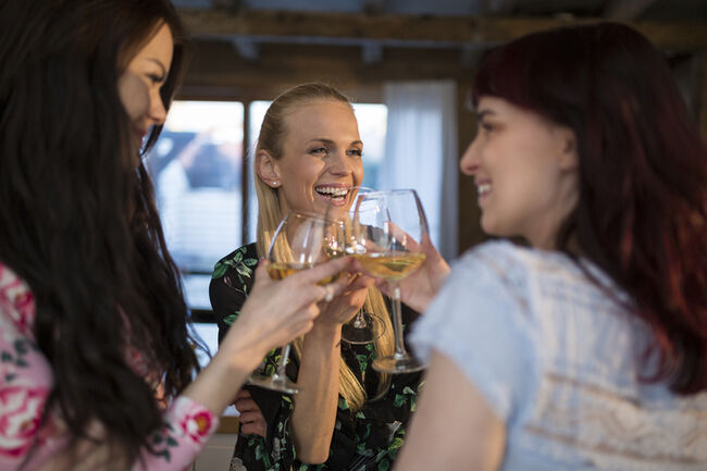 Happy female friends at home clinking wine glasses