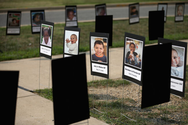 Memorial to children who've died after being left in a hot car