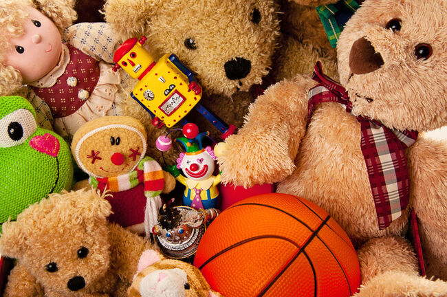 Box Full of Toys and Stuffed Animals