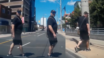 Weird, Odd and Bizarre News - Instant Karma As Jaywalker Stares Down Driver And Walks Right Into Pole
