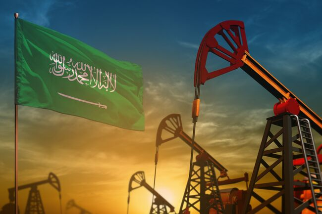 Saudi Arabia oil industry concept. Industrial illustration - Saudi Arabia flag and oil wells against the blue and yellow sunset sky background - 3D illustration