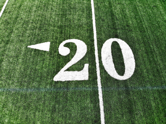 Drone Shot Of The 20 Yard Mark On An American Football Field