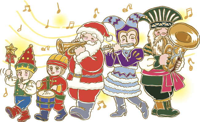 Painting of parade with Santa Claus, Illustration