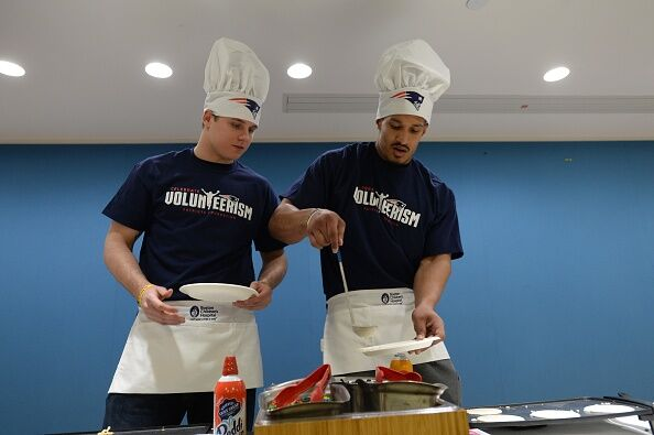 New England Patriots Flip Pancakes For Patients At Boston Children's Hospital