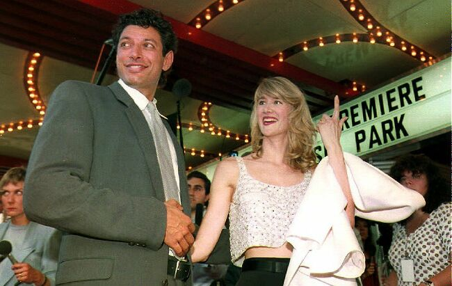 Actors Jeff Goldblum (L) and Laura Dern (R) arrive