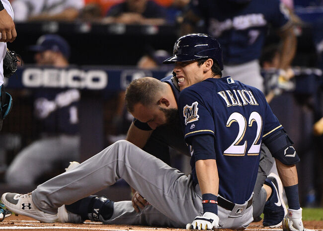 Christian Yelich suffers a season ending injury on September 10th