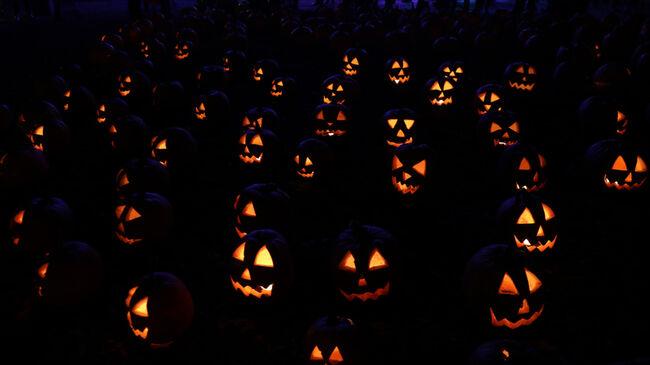 Full Frame Shot Of Illuminated Jack O Lanterns At Night