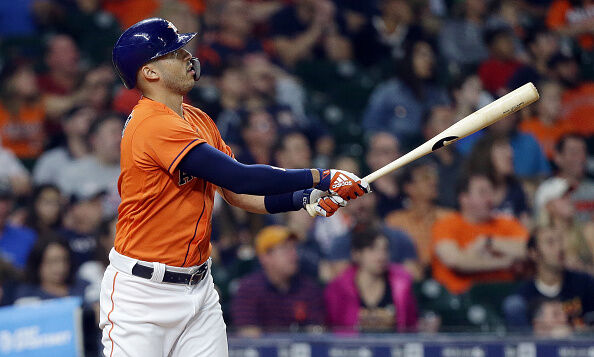 Carlos Correa #1 of the Houston Astros hits a home run in the third inning against the Los Angeles Angels at Minute Maid Park on September 20, 2019 in Houston, Texas. (Photo by Bob Levey/Getty Images)