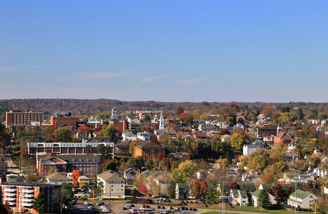 Rural Town and College Campus, Athens, Ohio, USA