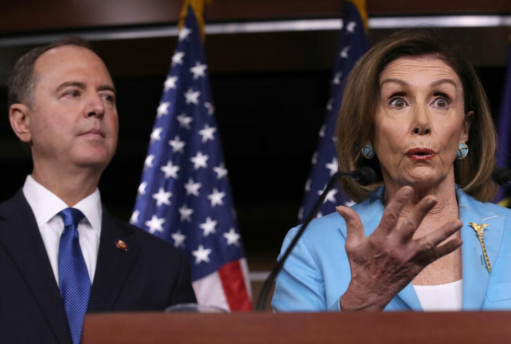 Rep. Adam Schiff Joins Nancy Pelosi At Her Weekly News Conference On Capitol Hill