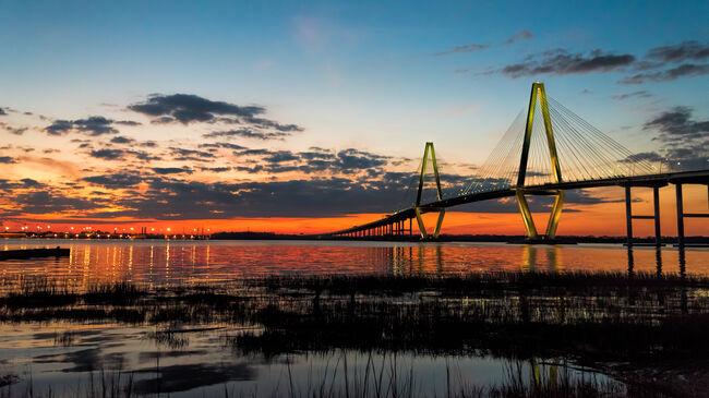 arther ravenel bridge at twilight hour