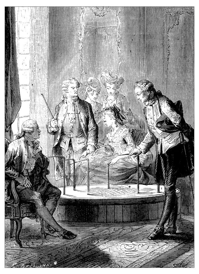 Antique illustration of scientific discoveries, anesthesia: Mesmer