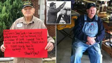 Leigh Ann and Jeremy - North Texas WW ll Veteran asked for 100 cards for his 100th birthday