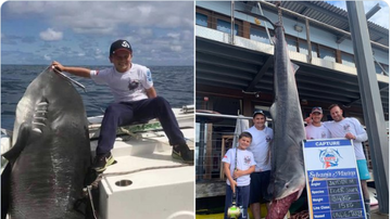 BC - 8-Year-Old Boy Catches 692-Pound Shark