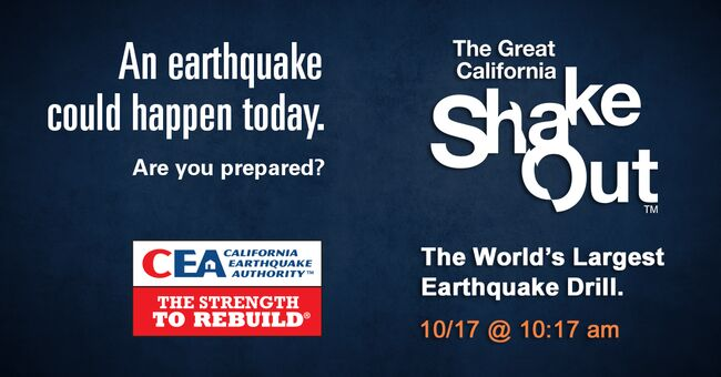 The Great California ShakeOut Returns on Oct. 17 at 10:17 a.m.