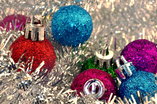 Christmas Ornaments and Silver Tinsel
