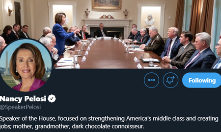National News - Pelosi Uses Photo Trump Tweeted as Cover Image For Her Twitter Account