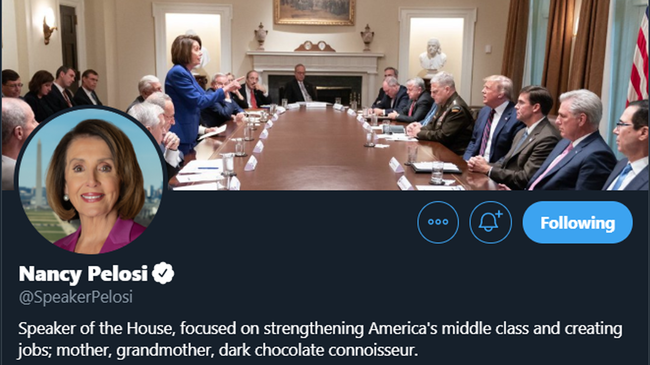 Pelosi Uses Photo Trump Tweeted as Cover Image For Her Twitter Account