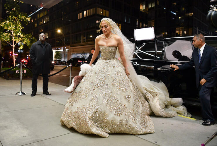 Jennifer Lopez Stuns in Gorgeous Wedding Dress in NYC | iHeartRadio