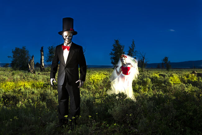 Characters: Skeleton bride beckons her groom.  Spooky Halloween wedding.
