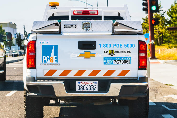 PG&E (Pacific Gas and Electric Company) service vehicle rear view
