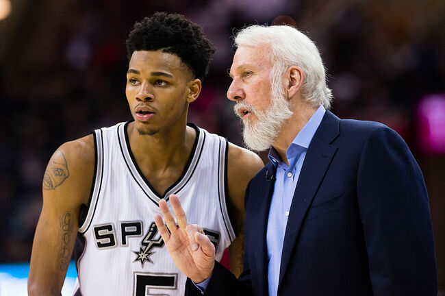 Dejounte Murray and Gregg Popovich