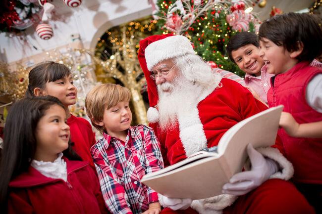 Santa reading to the children