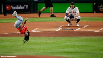 Eric Paulsen - See Simone Biles' BACKFLIP before throwing out the first pitch last night!