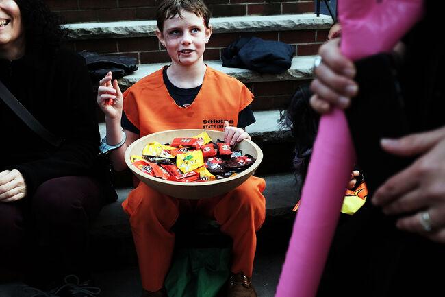 Children Trick Or Treat In Brooklyn On Halloween