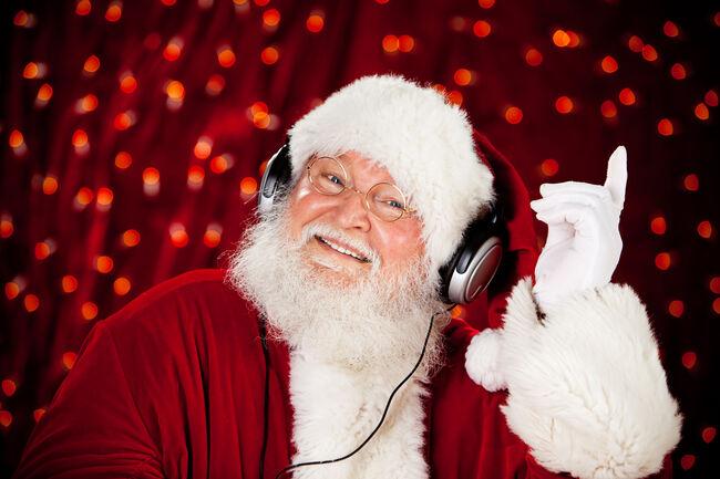 Dancing Santa with headphones