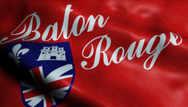 3D Waving Flag of Baton Rouge City Closeup View