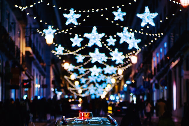 Urban Christmas decoration and taxi