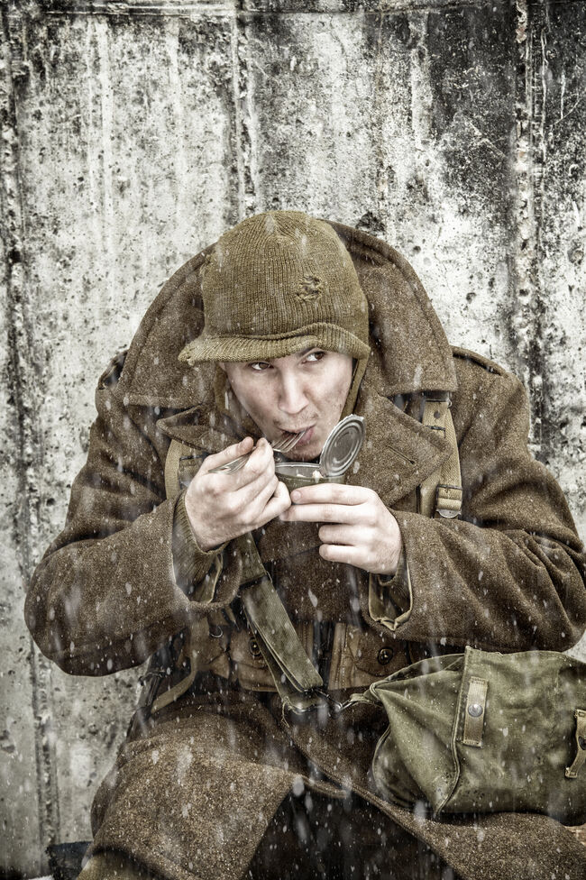 WWII Infantryman Eating With Goverment Issued Fork