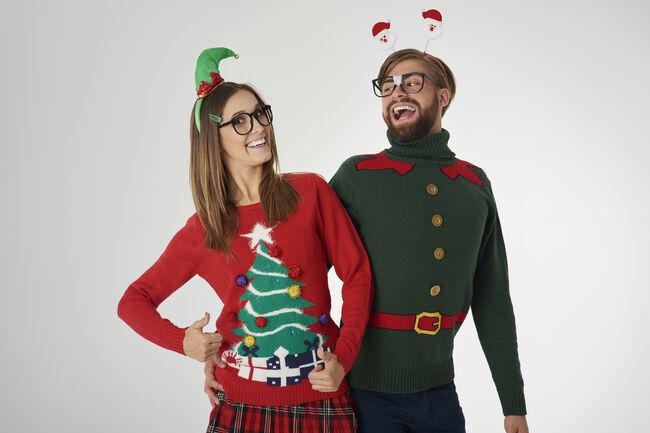 Christmas couple celebrating magic time