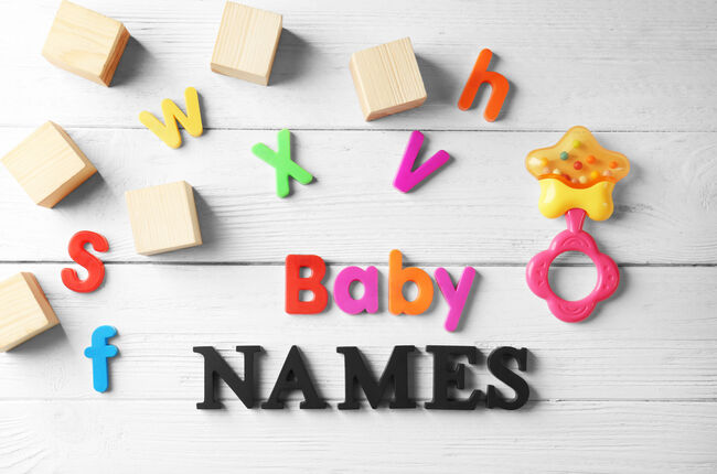 Text BABY NAMES on wooden background