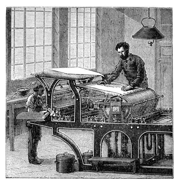 Engraving man and child working at printing press 1882