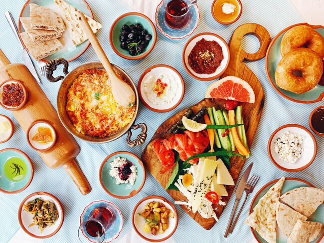 Traditional Turkish breakfast, directly above view