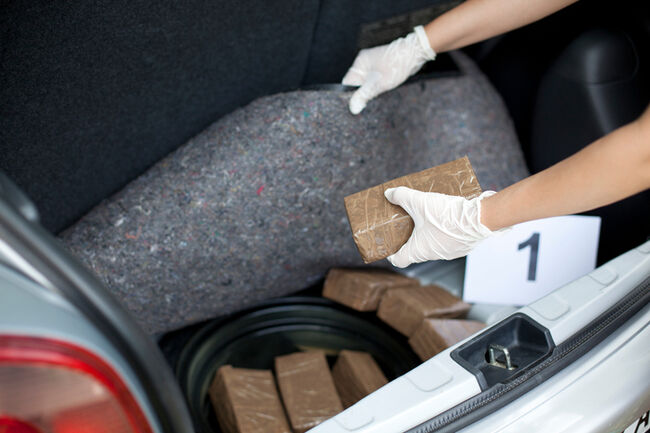 Cropped Image Of Investigator Searching For Smuggled Drug In Car Trunk