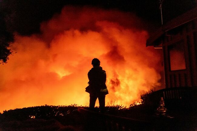 Los Angeles Area Firefighters Sent to Battle Santa Barbara County Wildfire