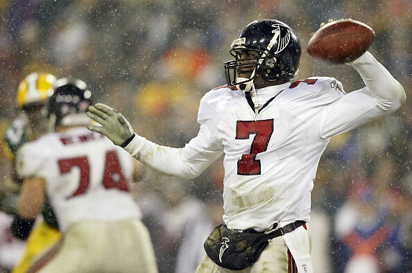 Quarterback Michael Vick of the Atlanta Falcons th