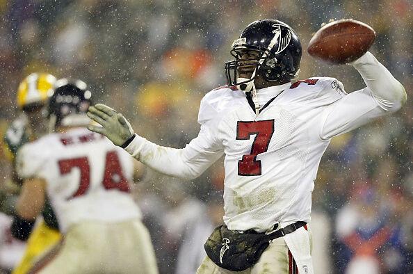 Quarterback Michael Vick of the Atlanta Falcons th