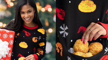 Mathew & Priscilla In The Morning - Red Lobster's New Holiday Sweater Has A Pocket To Keep Biscuits Warm