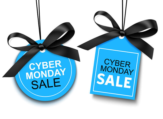 Cyber Monday sale tag with black bow for your design.