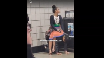 Qui West - Dude Lets His Girl Use Him As A Chair In The Subway!