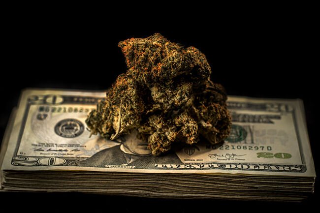 Marijuana on stack of $20