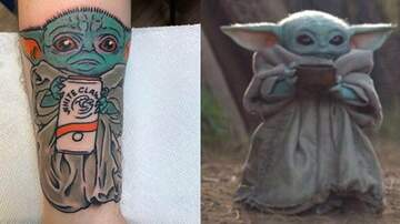 Reid - This Dude Got A Tattoo Of Baby Yoda Holding A White Claw On His Arm