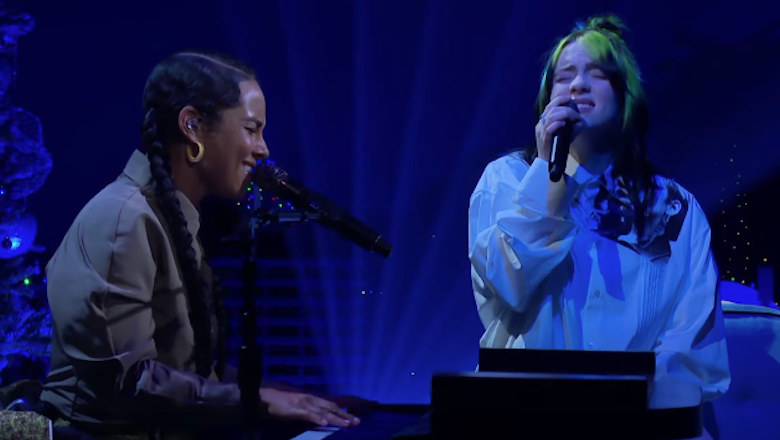 With Alicia Keys on Corden, Billie Eilish performs
